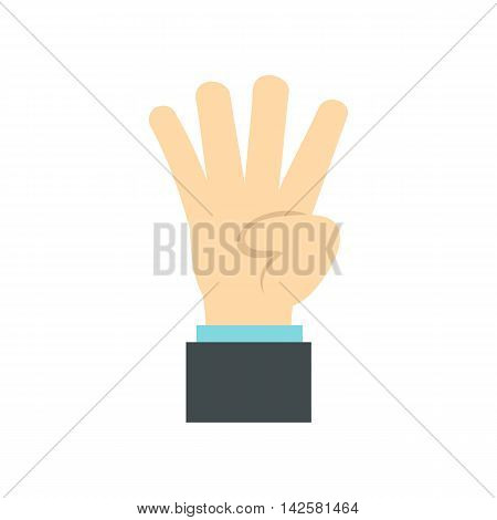Hand gesture four fingers icon in flat style isolated on white background. Gestural symbol