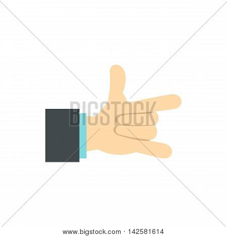 Gesture with index finger and little finger icon in flat style isolated on white background. Gestural symbol