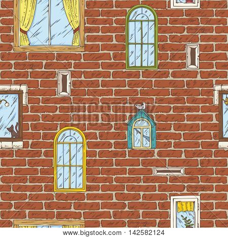 Seamless Vector Pattern. Brick Wall with Different Color Windows. Hand Drawn Illustration