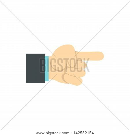 Gesture with index finger icon in flat style isolated on white background. Gestural symbol