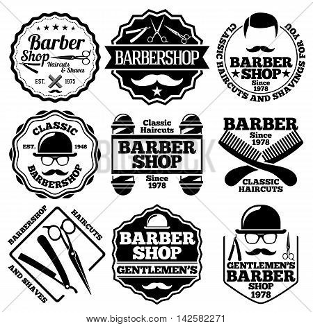 Vector set of Barber Labels for Barber shops etc.
