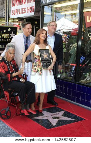 LOS ANGELES - AUG 11: Della Reese, Roma Downey, Mark Burnett, Rick Warren at a ceremony where Roma Downey is honored with a star on the Hollywood Walk of Fame on August 11, 2016 in Los Angeles, CA