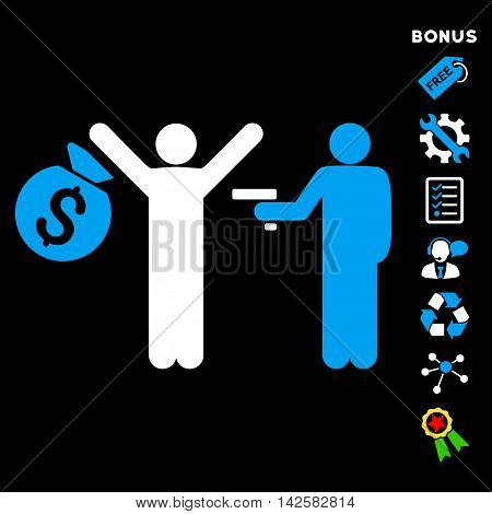 Thief Arrest icon with bonus pictograms. Vector illustration style is flat iconic bicolor symbols, blue and white colors, black background, rounded angles.