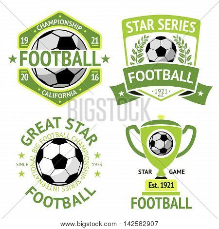 Set of green vintage Football labels. With laurel wreath, goblet, ball, shield and ribbons.