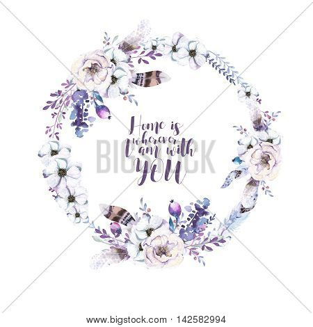 Watercolor floral boho flower wreath. Watercolour natural frame: leaves feather and birds. Isolated on white background. Artistic bohemian decoration illustration. Save the date. Tribal