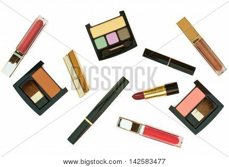 Isolated cosmetics set on a white background