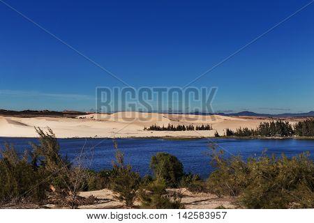 White Sand Dunes With Lake At Mui Ne Village Vietnam