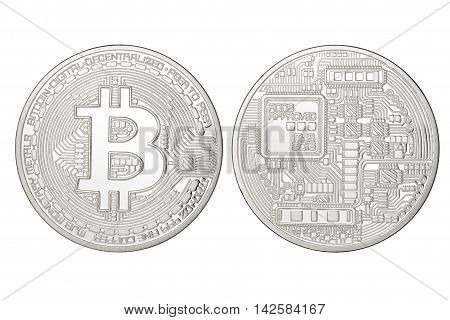 Silver Bitcoin Isolated