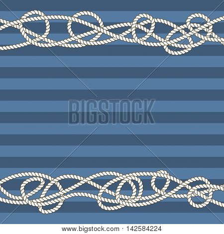 Tangled marine ropes borders for text. Nautical cord and pattern vector illustration