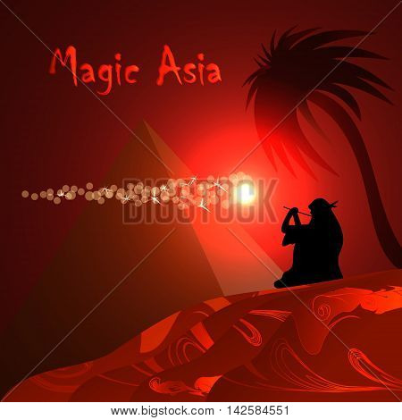 Abstract red background for design. Desert, pyramid, bedouin, red night Magic Asia