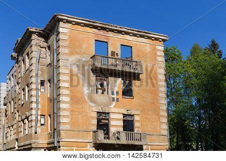 Abandoned Building - Broken Tenement Apartment House