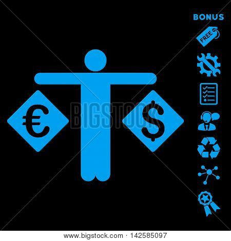 Currency Trader icon with bonus pictograms. Vector illustration style is flat iconic symbols, blue color, black background, rounded angles.