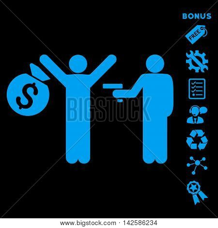 Thief Arrest icon with bonus pictograms. Vector illustration style is flat iconic symbols, blue color, black background, rounded angles.