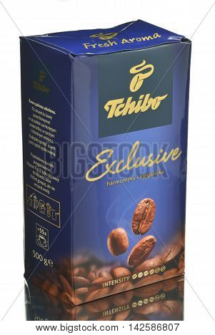 CIRCA MARCH 2016 - GDANSK:  Tchibo Exclusive isolated on white background. Tchibo is chain of coffee retailers and cafés. Tchibo was founded in 1949 in Hamburg, Germany.