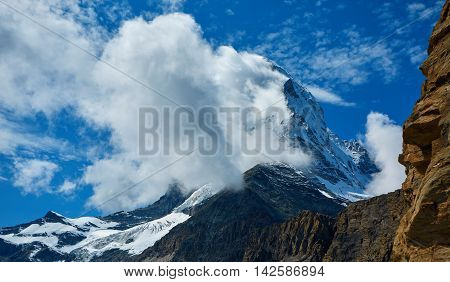 Snow capped mountains. Trek near Matterhorn mount.