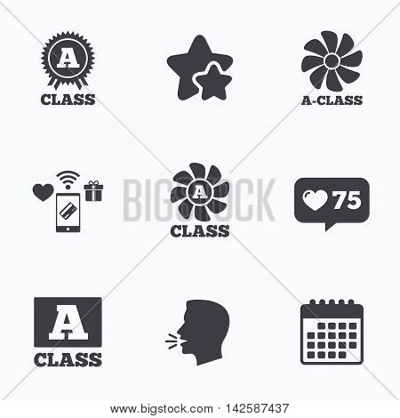 A-class award icon. A-class ventilation sign. Premium level symbols. Flat talking head, calendar icons. Stars, like counter icons. Vector