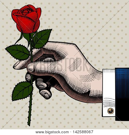 Hand with a red rose. Retro style valentine greeting card design. Vintage color engraving stylized drawing. Contains the Clipping Path