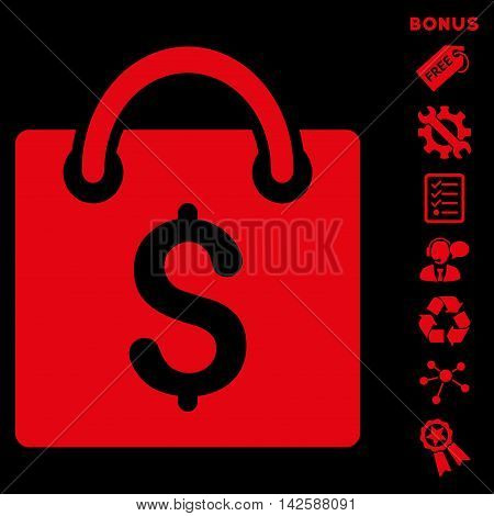 Shopping Bag icon with bonus pictograms. Vector illustration style is flat iconic symbols, red color, black background, rounded angles.