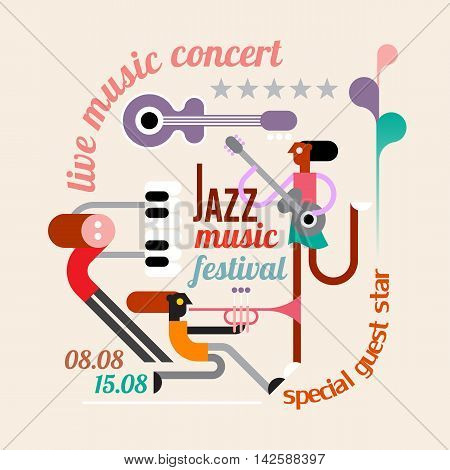Abstract art composition with musician text and musical instruments. Jazz music festival poster.