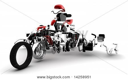 Red Motorbike Exploded