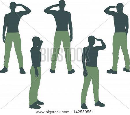 Man Silhouette In Salute, Salutation Pose