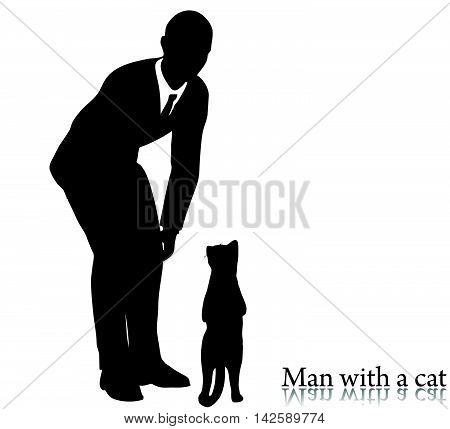 Business Man Silhouette With A Cat
