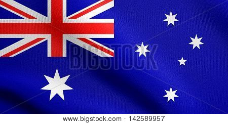Flag of Australia waving in the wind with detailed fabric texture. Australian national flag. 3D illustration