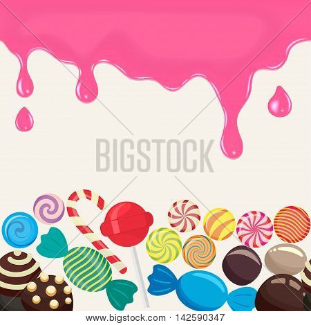 Sweet candy endless in the horizontal illustration for menu design. Culinary wallpaper, caramel lollipop, colored candies collection without wrapper, sugar sweet-stuff vector food design