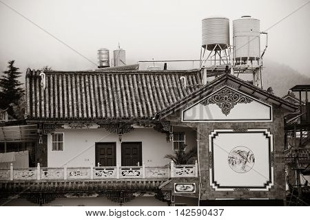 Local Bai style architecture in Dali old town. Yunnan, China.