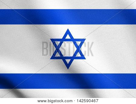 Flag of Israel waving in the wind with detailed fabric texture. Israeli national flag. 3D illustration