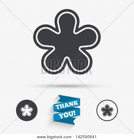 Asterisk round footnote sign icon. Star note symbol for more information. Flat icons. Buttons with icons. Thank you ribbon. Vector