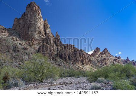 Kofa Queen Canyon in the Kofa Mountains Wilderness in Yuma County in near Quartzite Arizona.