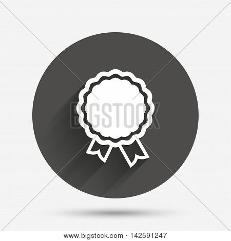 Award icon. Best guarantee symbol. Winner achievement sign. Circle flat button with shadow. Vector