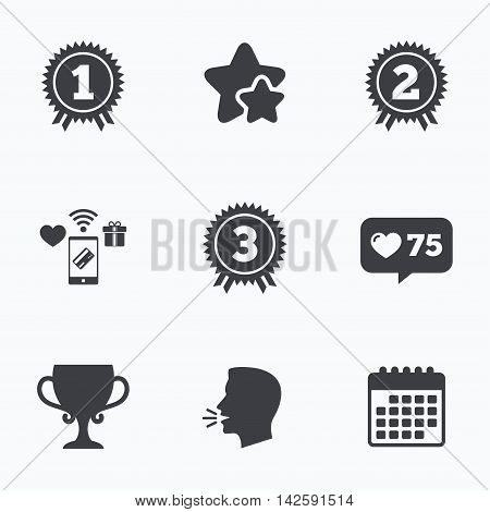 First, second and third place icons. Award medals sign symbols. Prize cup for winner. Flat talking head, calendar icons. Stars, like counter icons. Vector