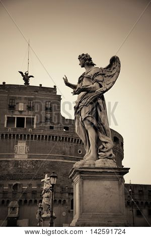 Castel Sant Angelo angel statue closeup in Rome, Italy in black and white.
