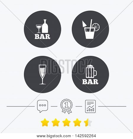 Bar or Pub icons. Glass of beer and champagne signs. Alcohol drinks and cocktail symbols. Chat, award medal and report linear icons. Star vote ranking. Vector