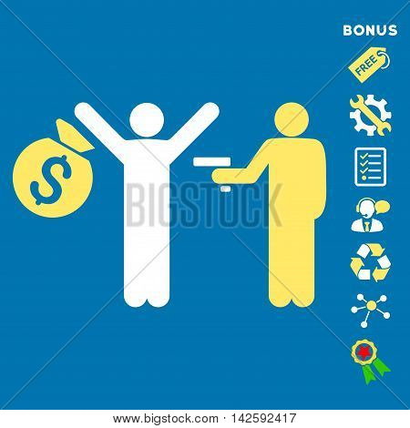Thief Arrest icon with bonus pictograms. Vector illustration style is flat iconic bicolor symbols, yellow and white colors, blue background, rounded angles.
