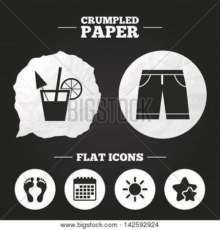 Crumpled paper speech bubble. Beach holidays icons. Cocktail, human footprints and swimming trunks signs. Summer sun symbol. Paper button. Vector