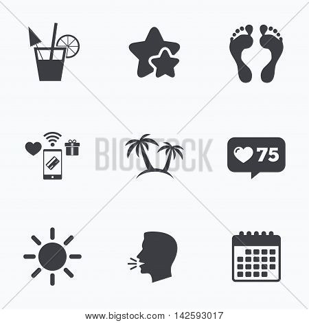 Beach holidays icons. Cocktail, human footprints and palm trees signs. Summer sun symbol. Flat talking head, calendar icons. Stars, like counter icons. Vector