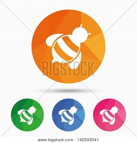 Bee sign icon. Honeybee or apis with wings symbol. Flying insect diagonal. Triangular low poly button with flat icon. Vector