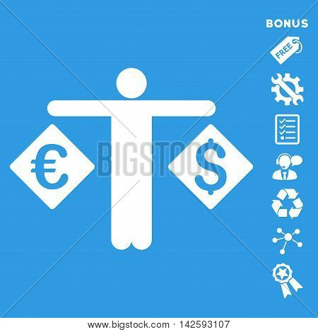 Currency Trader icon with bonus pictograms. Vector illustration style is flat iconic symbols, white color, blue background, rounded angles.