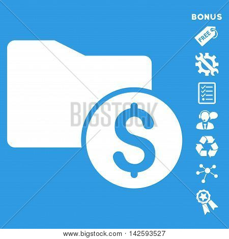 Money Folder icon with bonus pictograms. Vector illustration style is flat iconic symbols, white color, blue background, rounded angles.