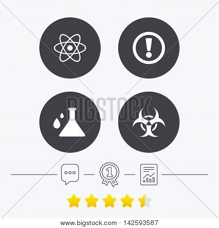 Attention and biohazard icons. Chemistry flask sign. Atom symbol. Chat, award medal and report linear icons. Star vote ranking. Vector