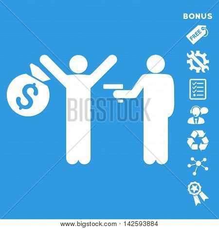 Thief Arrest icon with bonus pictograms. Vector illustration style is flat iconic symbols, white color, blue background, rounded angles.