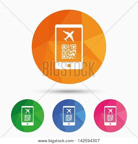 Boarding mobile pass flight sign icon. Airport ticket on smartphone symbol. Triangular low poly button with flat icon. Vector