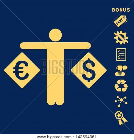Currency Trader icon with bonus pictograms. Vector illustration style is flat iconic symbols, yellow color, blue background, rounded angles.