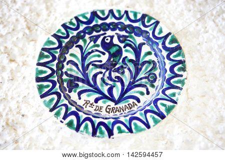 Plate of Fajalauza ceramic originally developed in Granada Albaicin District Spain