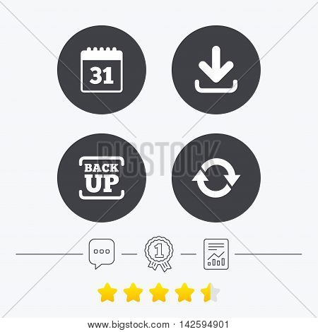 Download and Backup data icons. Calendar and rotation arrows sign symbols. Chat, award medal and report linear icons. Star vote ranking. Vector