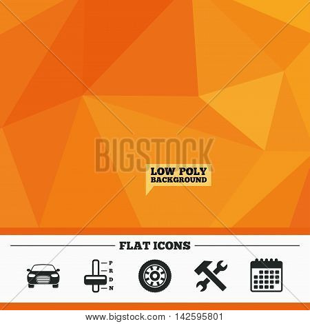 Triangular low poly orange background. Transport icons. Car tachometer and automatic transmission symbols. Repair service tool with wheel sign. Calendar flat icon. Vector