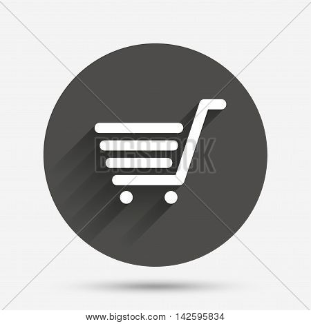 Shopping Cart sign icon. Online buying button. Circle flat button with shadow. Vector